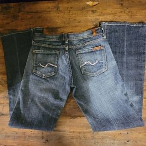 7 For All Mankind Bootcut Jeans w Pink Rhinstones